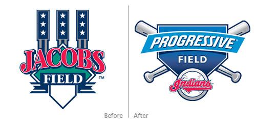 jacobs field, progressive field logos