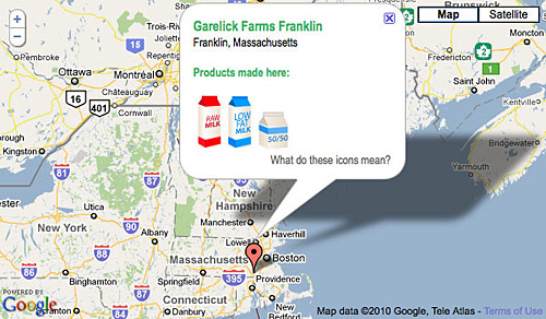 stop and shop milk map