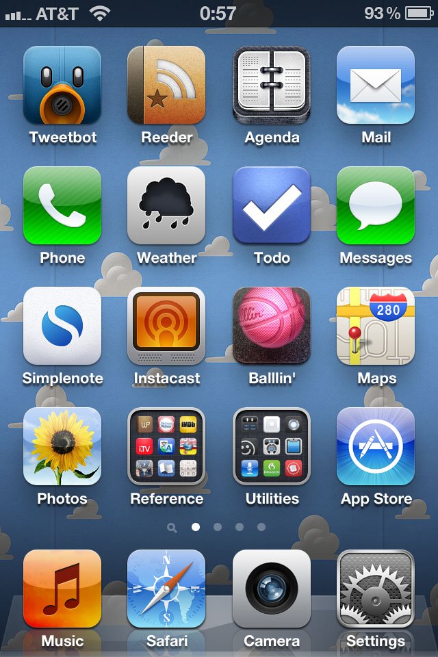 current iPhone home screen